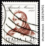 Small photo of ITALY - CIRCA 1973: a stamp printed in the Italy shows Alessandro Manzoni, Novelist and Poet, circa 1973