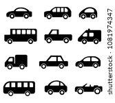 car icon vector symbol sign set ... | Shutterstock .eps vector #1081974347