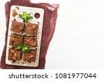 brownie sweet chocolate dessert ... | Shutterstock . vector #1081977044