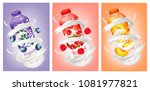 set of yogurts with berries and ... | Shutterstock .eps vector #1081977821