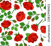 Stock vector seamless pattern with red roses on white background 1081998401