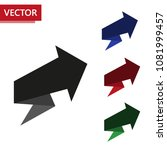 set of arrows in black  red ... | Shutterstock .eps vector #1081999457