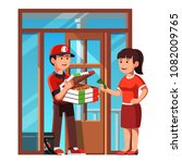 smiling courier boy handing... | Shutterstock .eps vector #1082009765