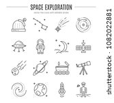 vector space exploration icons... | Shutterstock .eps vector #1082022881