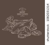 sweet potato  root  flower and...   Shutterstock .eps vector #1082031314