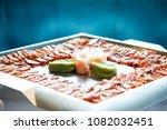 seared yellow fin tuna arranged ... | Shutterstock . vector #1082032451