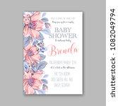 floral baby shower invitation... | Shutterstock .eps vector #1082049794