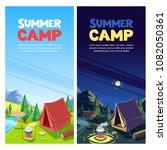 summer camping vector banner ... | Shutterstock .eps vector #1082050361