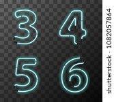 bright blue realistic neon... | Shutterstock . vector #1082057864