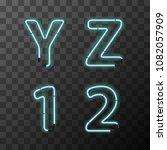 bright blue realistic neon... | Shutterstock . vector #1082057909