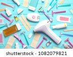 set for epilation on wooden... | Shutterstock . vector #1082079821