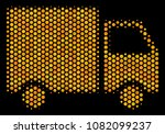 halftone hexagon shipment van...   Shutterstock .eps vector #1082099237