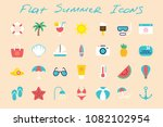 flat summer vacation icons set... | Shutterstock .eps vector #1082102954