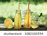 lemonade from elder flower...   Shutterstock . vector #1082103554