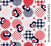 hearts pattern with polka dots...   Shutterstock .eps vector #1082104631