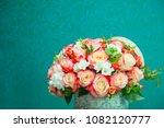 bouquet of flowers pink rose   Shutterstock . vector #1082120777