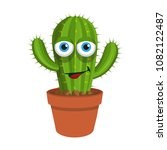 cactus icon. cartoon cactus in... | Shutterstock .eps vector #1082122487