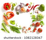 various fresh vegetables... | Shutterstock . vector #1082128367