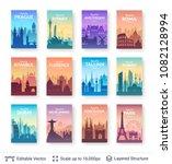 world famous city scapes set.... | Shutterstock .eps vector #1082128994