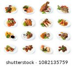 set of various restaurant meals ... | Shutterstock . vector #1082135759