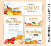 breakfast banners or posters... | Shutterstock .eps vector #1082139491