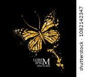 butterfly of gold glitter.... | Shutterstock .eps vector #1082142347
