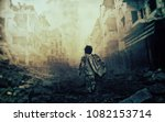 homeless child walking in... | Shutterstock . vector #1082153714