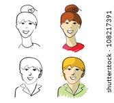 young caucasian men and women... | Shutterstock .eps vector #108217391