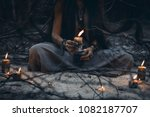 Woman hands holding candle...