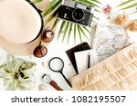 traveler accessories on white... | Shutterstock . vector #1082195507