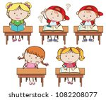 students studying on white... | Shutterstock .eps vector #1082208077