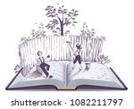 Stock vector tom sawyer paints fence open book illustration vector isolated on white 1082211797