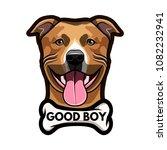 staffordshire terrier dog. bone.... | Shutterstock .eps vector #1082232941