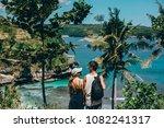 couple in love  travel backpack ... | Shutterstock . vector #1082241317