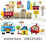 Stock vector vector set of fun travel with funny animals 1082241821