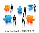 business people in puzzle world | Shutterstock .eps vector #10822474