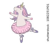 unicorn ballerina dancing  cute ... | Shutterstock .eps vector #1082251901