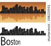 Boston skyline in orange background in editable vector file - stock vector