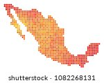 pixel fire mexico map. vector... | Shutterstock .eps vector #1082268131