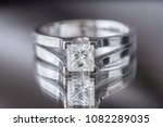 Small photo of 1 carat princess cut engagement diamond ring in white gold