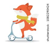 cute fox scooter vector design... | Shutterstock .eps vector #1082290424