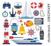 marine and nautical vector flat ... | Shutterstock .eps vector #1082291699