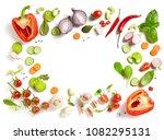 various fresh vegetables...   Shutterstock . vector #1082295131