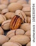 close up pecan nuts. vegetarian ... | Shutterstock . vector #1082303954