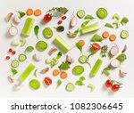 various fresh vegetables on a... | Shutterstock . vector #1082306645
