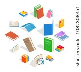 isometric book icons set....
