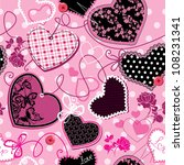 pink and black hearts on a pink ... | Shutterstock .eps vector #108231341