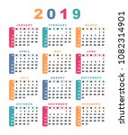 calendar 2019  week starts with ... | Shutterstock .eps vector #1082314901