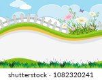 flower fence and hill template...   Shutterstock .eps vector #1082320241