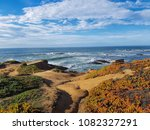 Small photo of On the edge of the Earth and the Pacific. Awesome view, magic and colorful. Pacific coast Highway view. Slightly turned off the Pacific Road. Incredibly bright colors of the ocean and shoreline